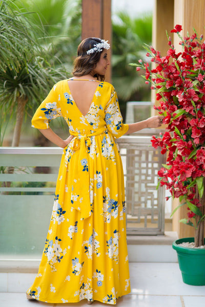 Hello Yellow Floral Maternity & Nursing Crepe Wrap Dress - MOMZJOY.COM