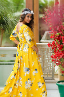 Hello Yellow Floral Maternity & Nursing Crepe Wrap Dress