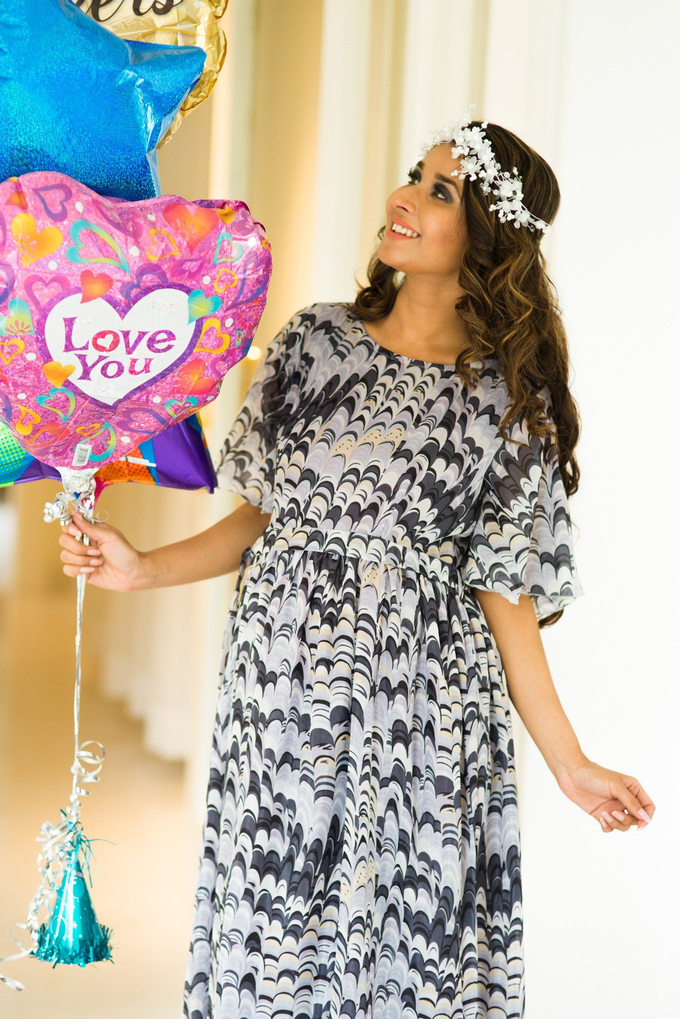 Lilac Floral Luxe Maternity Maxi Dress