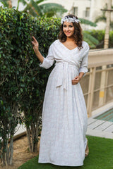 White Sprinkle Maternity & Nursing Wrap Dress