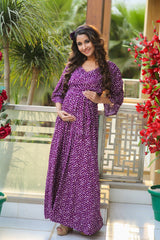 Violet Sprinkle Maternity & Nursing Wrap Dress