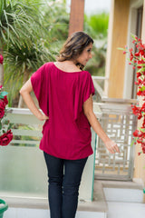 Side Access Burgandy Nursing Top