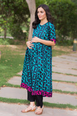 Fern Green Abstract Maternity and Nursing Cambric Kurta