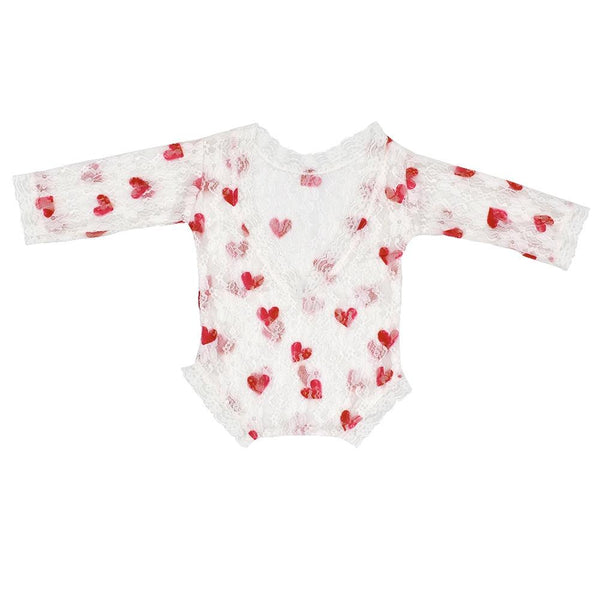 Newborn Baby Heart Lace Red Heart Romper - Photography Prop - MOMZJOY.COM