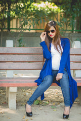 Blue Asymmetrical Maternity Cardigan - MOMZJOY.COM - 4