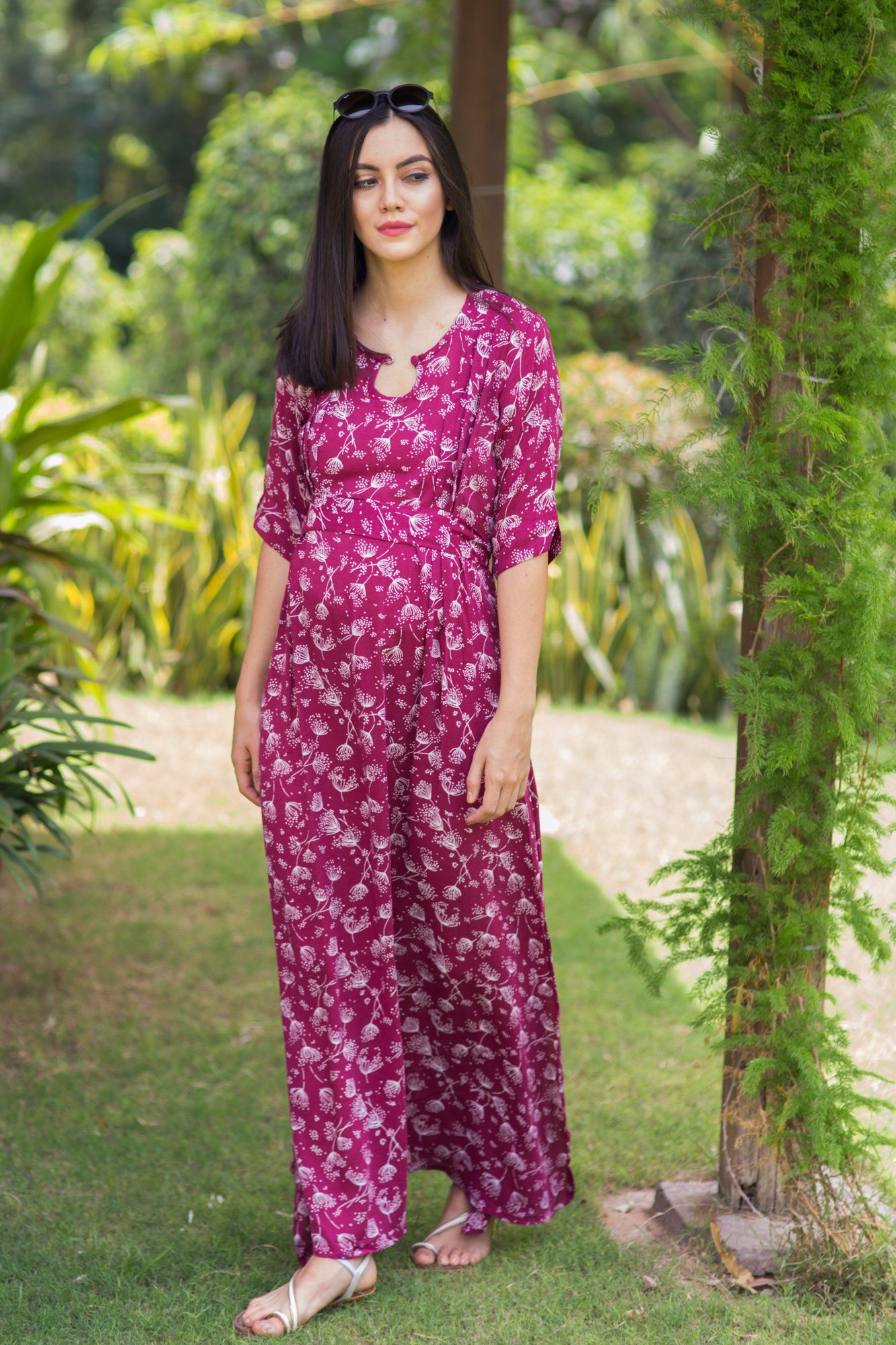 Burgandy Moss Side Slit Concealed Zips Maternity & Feeding Dress - MOMZJOY.COM