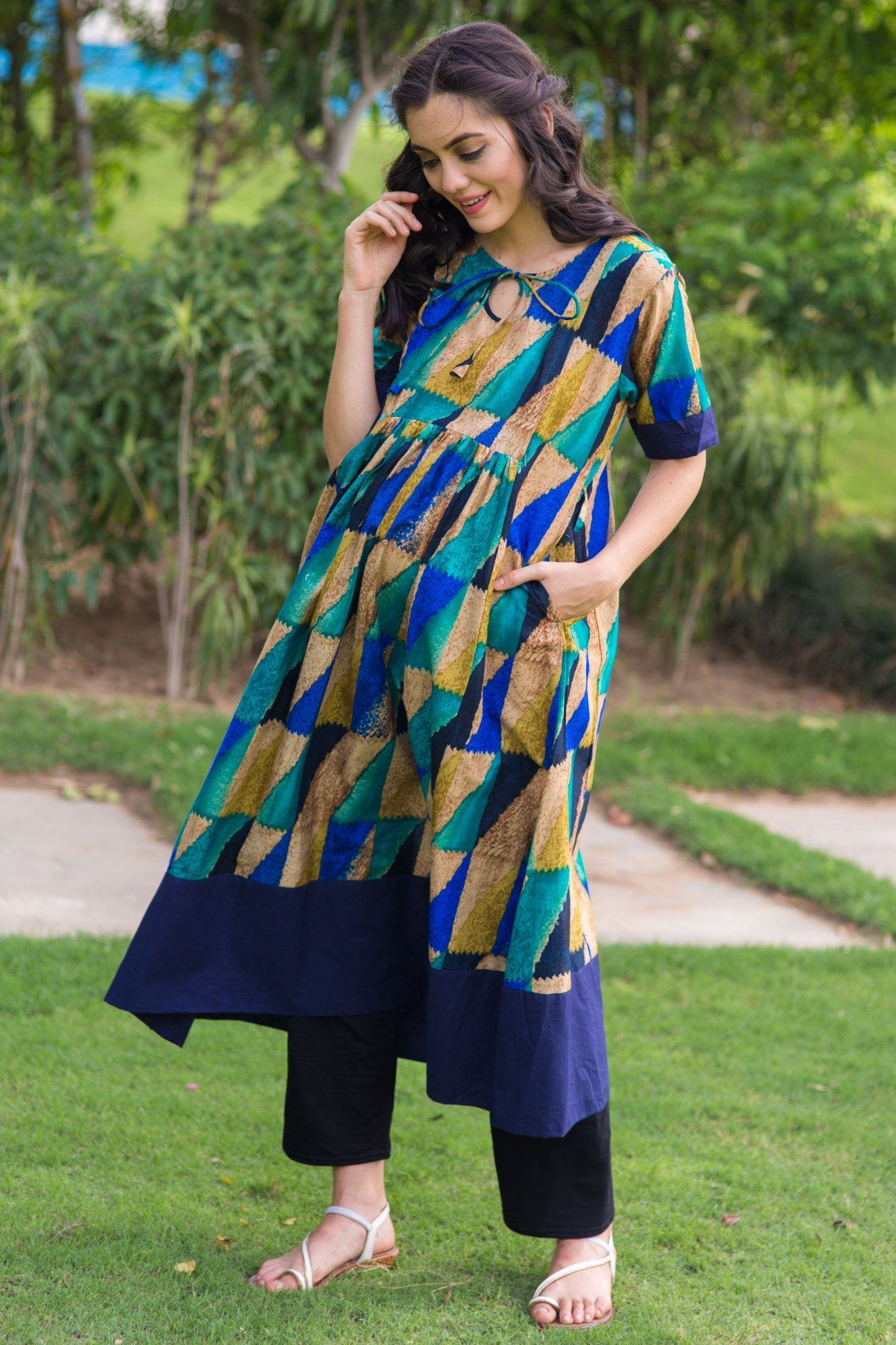 Sea Green Concealed Zip Nursing Kurta