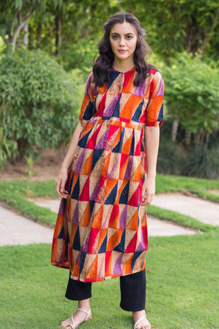 Abstract Cambric Maternity and Nursing Kurta