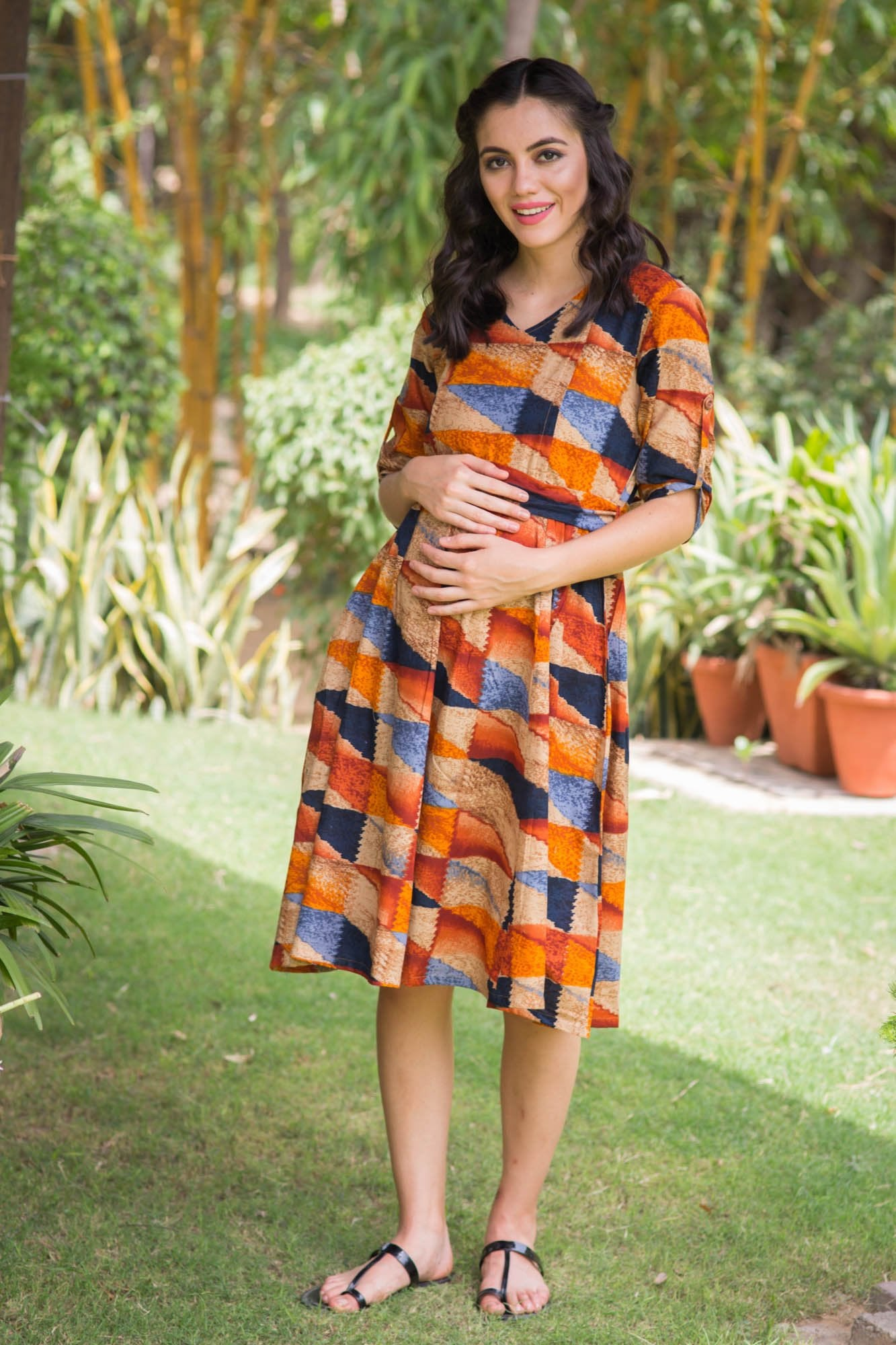 Marigold Abstract Maternity & Nursing Kurta Dress