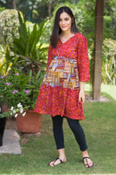 Amber Red Nursing Layer Kurta Dress - MOMZJOY.COM