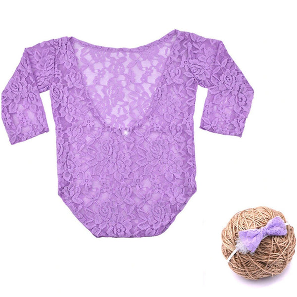 New Born Lavender Lace Romper & Bow Set Photography Prop (3 Months)