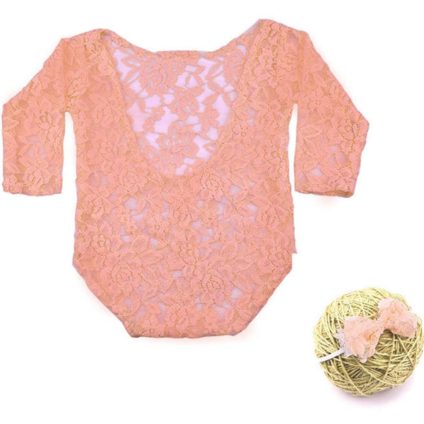 New Born Peachy Pink Lace Romper & Bow Set Photography Prop (3 Months)