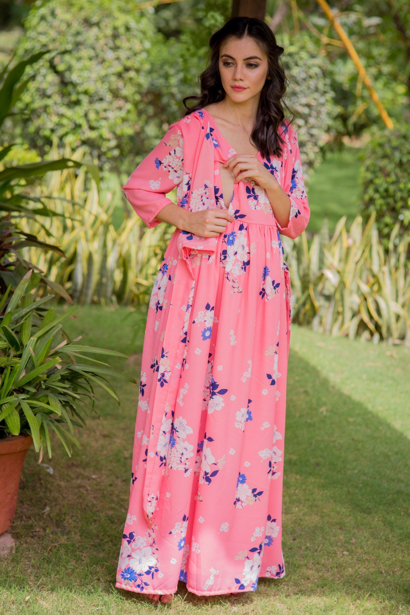 Plush Pink Floral Maternity & Nursing Crepe Wrap Dress