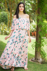 Rose Peach Off-Shoulder Maternity Maxi