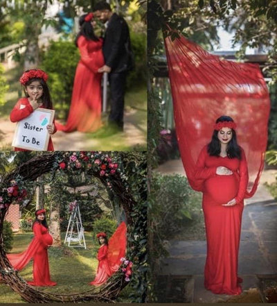 Mini Me (Mother-Daughter) Red Trail Maternity Photoshoot Gown - MOMZJOY.COM