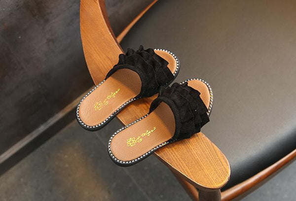Black Suede Frill Slippers (2.5-5 Yrs)