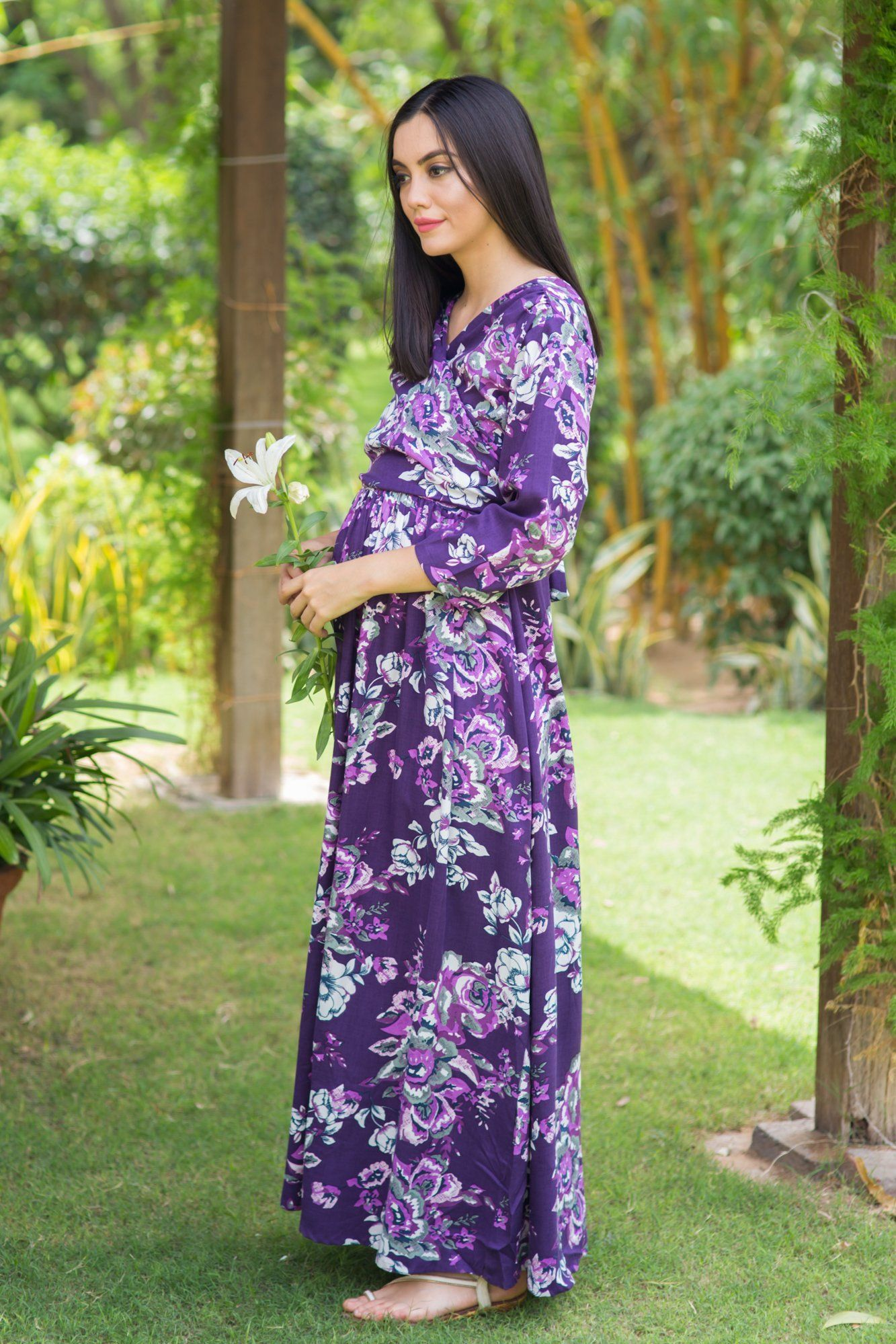 Lilac Floral Cotton Nursing Wrap Dress