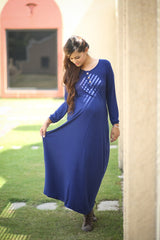 Blue Maternity Maxi Dress - MOMZJOY.COM - 2
