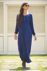 Blue Maternity Maxi Dress - MOMZJOY.COM - 1