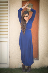 Blue Maternity Maxi Dress - MOMZJOY.COM - 4