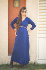 Blue Maternity Maxi Dress - MOMZJOY.COM - 3