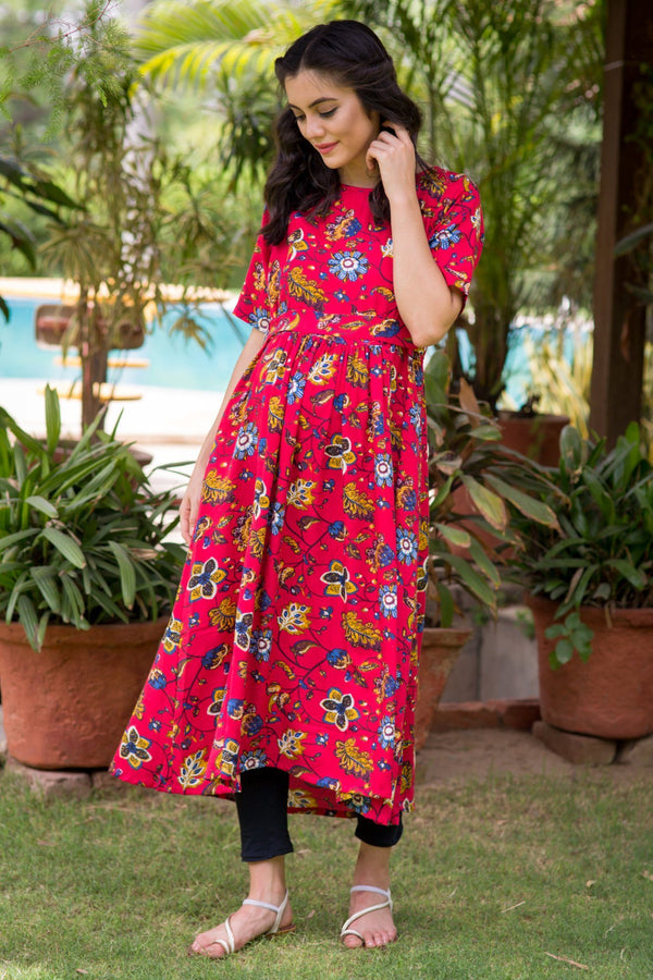Chirpy Red Maternity & Nursing Kurta Dress - MOMZJOY.COM