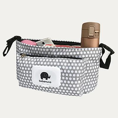 Grey Polka Multifunctional Baby Stroller Organizer Travel Diaper Bag - MOMZJOY.COM