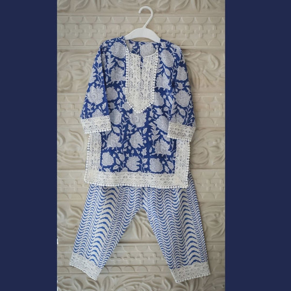 Blue and White Palazzo Set (0-8 Yrs)
