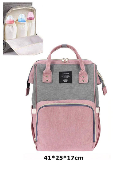 Grey Pink Multifunctional Travel Backpack Diaper Bag - MOMZJOY.COM