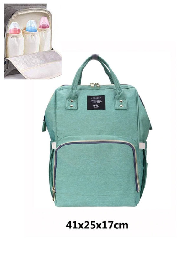 Mint Green Multifunctional Travel Backpack Diaper Bag