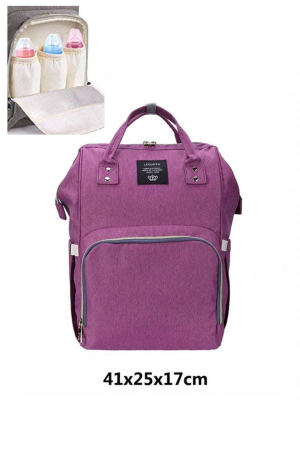 Lilac Plum Multifunctional Travel Backpack Diaper Bag