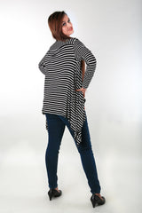 Black & White Striped Cascading Maternity Cover Up - Pregnancy Clothes -MOMZJOY.COM - 3