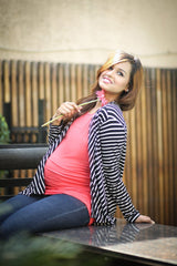 Black & White Striped Cascading Maternity Cover Up - Pregnancy Clothes -MOMZJOY.COM - 1