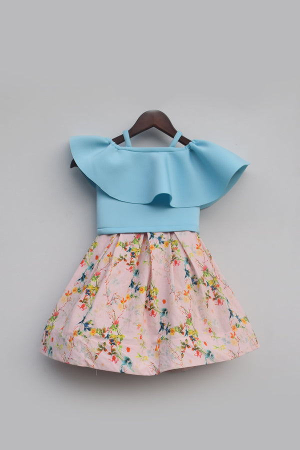 Blue Top with Pink Printed Skirt