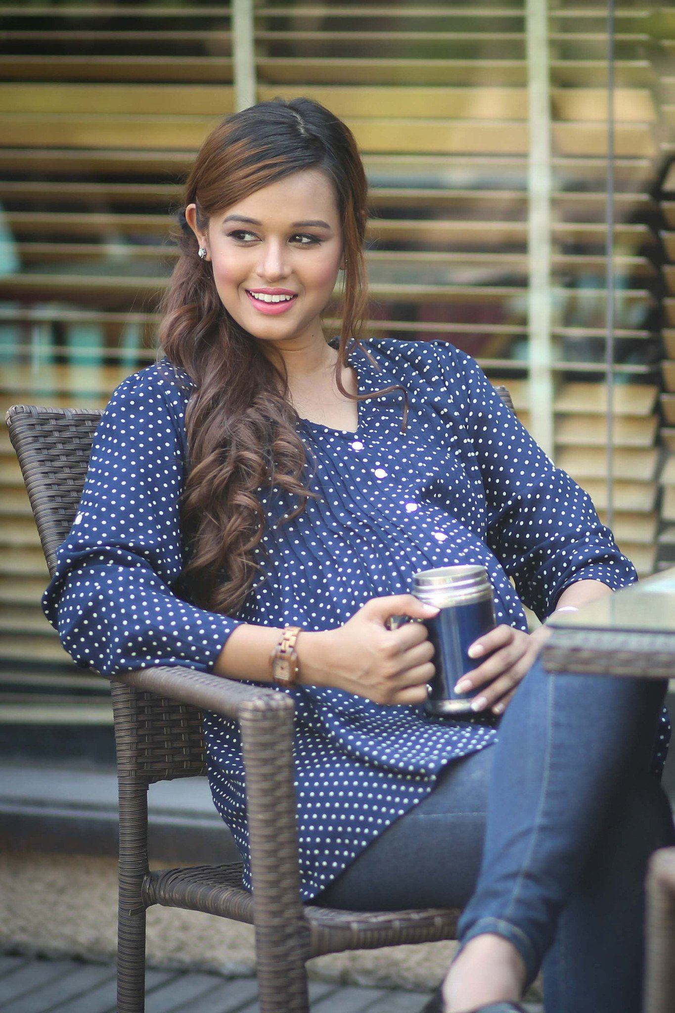 Blue Polka Dot Maternity Shirt - MOMZJOY.COM - 1
