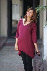 Burgundy Front Short Maternity Top - MOMZJOY.COM - 2