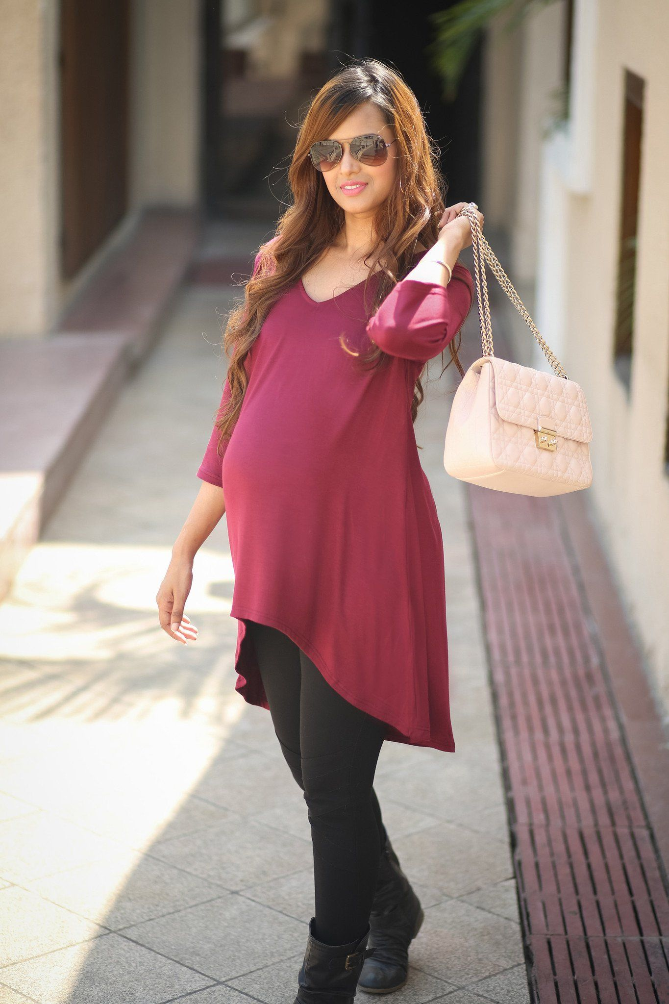 Burgundy Front Short Maternity Top - MOMZJOY.COM - 1