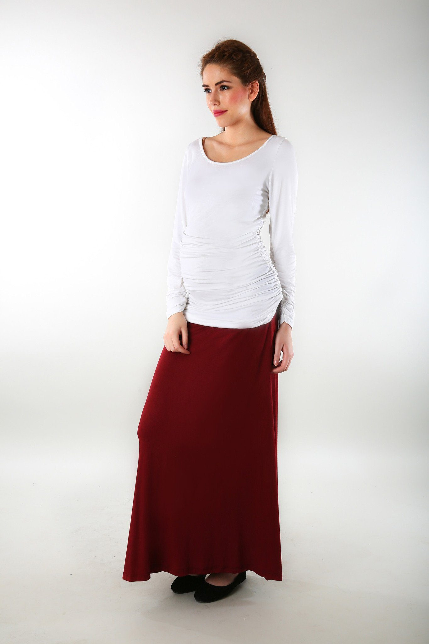 Burgundy Stretch Maternity Skirt - MOMZJOY.COM - 1