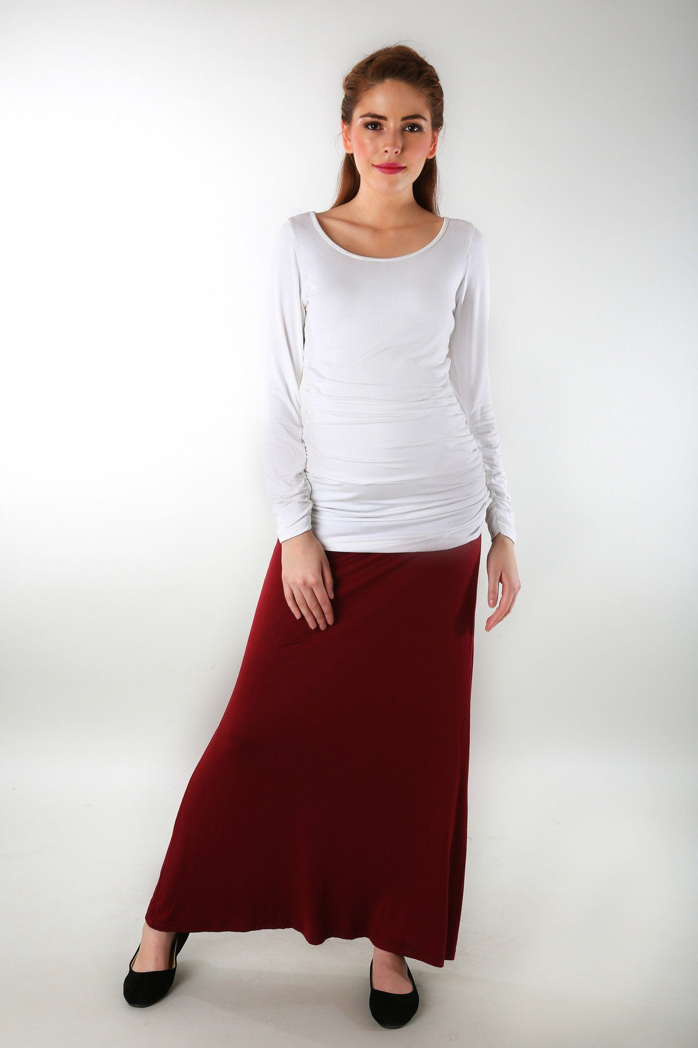 Burgundy Stretch Maternity Skirt - MOMZJOY.COM - 2