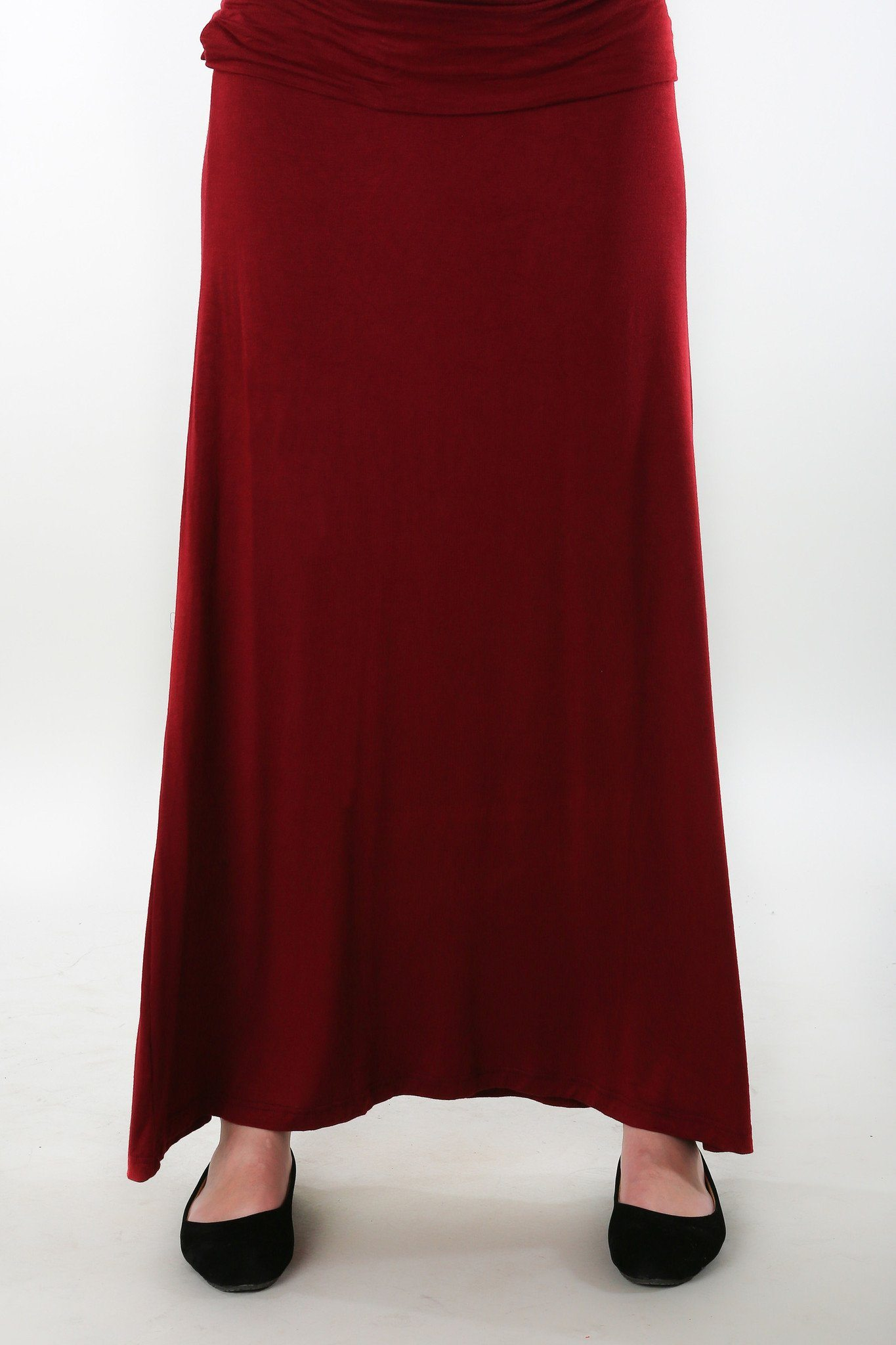 Burgundy Stretch Maternity Skirt - MOMZJOY.COM - 5