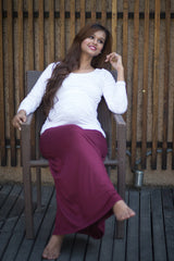 Burgundy Stretch Maternity Skirt - MOMZJOY.COM - 3