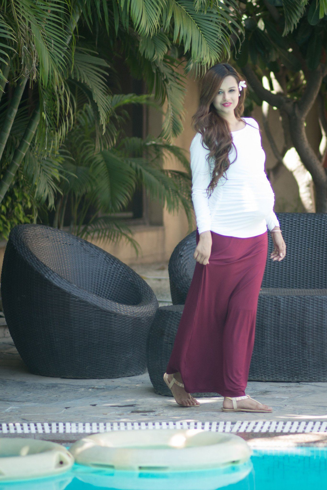 Burgundy Stretch Maternity Skirt - MOMZJOY.COM - 4