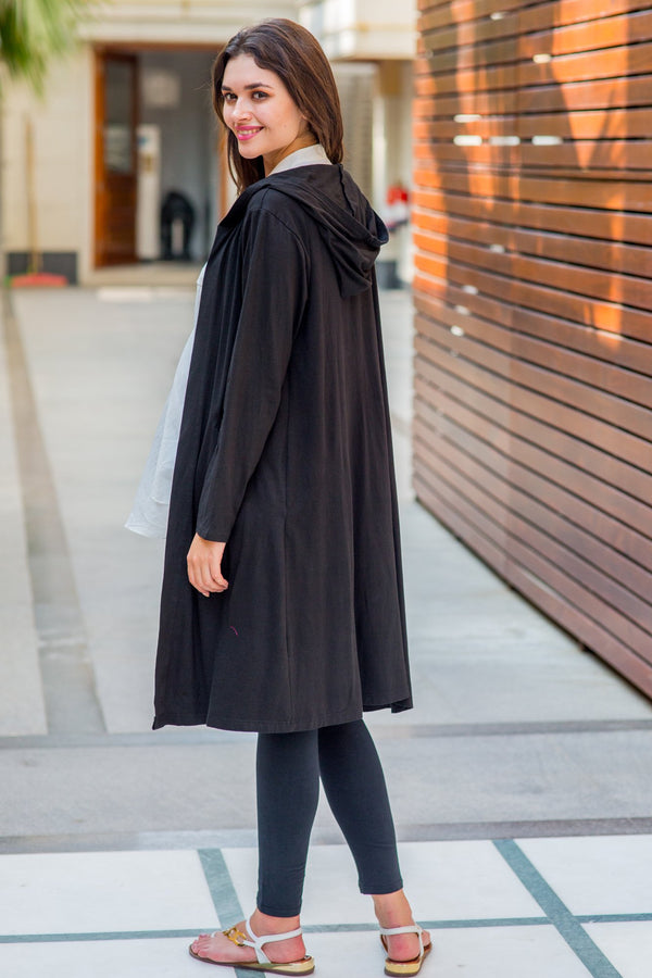 Classic Black Maternity Cardigan With Hoodie - MOMZJOY.COM