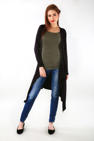 Classic Black Asymmetrical Maternity Cardigan