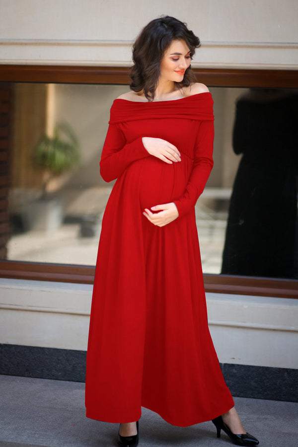Classic Red Cowl Neck Off-shoulder Lycra Maternity Maxi Dress
