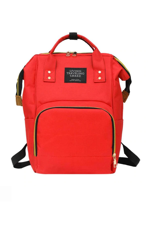 Red Multifunctional Travel Backpack Diaper Bag