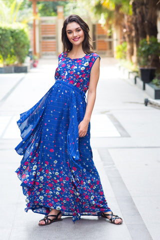 Celeste Blue Floral Luxe Maternity & Nursing Dress