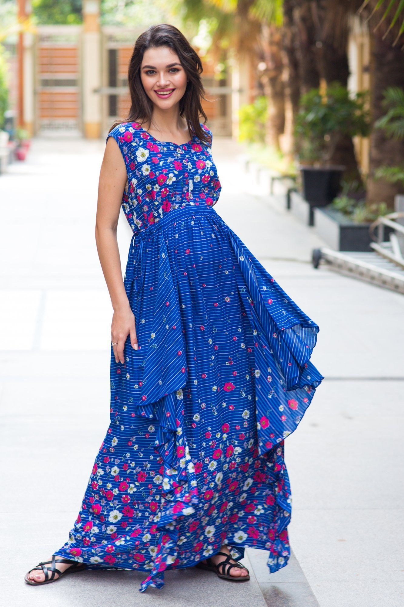 Celeste Blue Floral Luxe Maternity & Nursing Dress - MOMZJOY.COM
