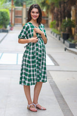 Forest Green Plaid Maternity & Nursing Dress - MOMZJOY.COM