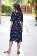 Yale Blue Polka Maternity & Nursing Dress - MOMZJOY.COM